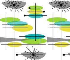 Mid-Century Modern Abstract 3 fabric by egnatz on Spoonflower - custom fabric