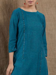 Blue Sequins Embroidered Mangalgiri Cotton Kurta with White Pants - Set of 2 Embroidery On Kurtis, Hand Embroidery Dress, Kurti Embroidery Design, Stylish Dress Designs, Dress Neck Designs, Blouse Designs, Salwar Pattern, Kurta Patterns, Kurta Neck Design