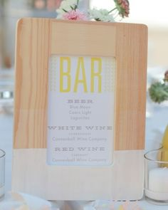 Drink offerings were displayed in a wooden frame that had been dipped in white paint