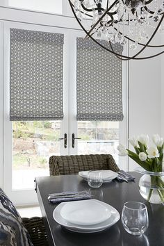 Add a modern touch to your window treatment with these beautifuly crafted Roman Shades. #romanshades #windowtreatment #blindstogo #shades #decor #fabric #interior #pattern #modern #dining