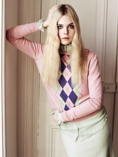 Who What Wear Elle Fanning British Vogue UK June 2014 Elle Of The Ball Photographer Angelo Pennetta  Styled by Francesca Burns Cover Shoot Long Blonde Retro Hair Mascara Eyeliner Beauty 60s Inspired Argyle Miu Miu Sweater Mint Layered Button Up Green Skirt