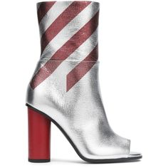Anya Hindmarch Striped metallic ankle boots ($478) ❤ liked on Polyvore featuring shoes, boots, ankle booties, silver, zipper booties, short zipper boots, metallic booties, zipper boots and zip booties