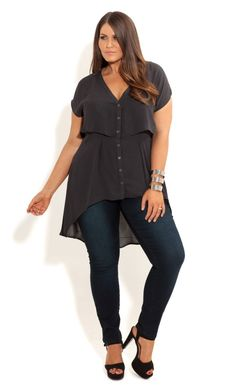 City Chic - CROPPED LAYERED SHIRT - Women's plus size fashion by masiofo54