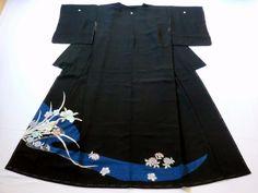 Japanese Kimono Silk Black Tomesode Embroidered Flower P120726 | eBay