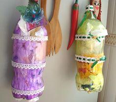 Puxa-saco feita em garrafa pet toda decorada