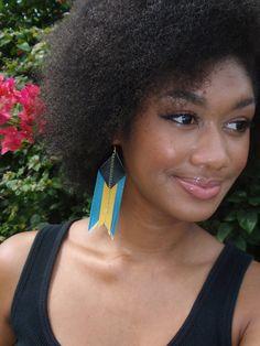 Bahamian Flag Fringe Earrings by WhitneyNMMiller on Etsy, $17.00 (Bahamas)