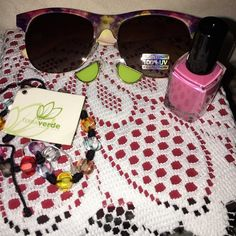 Things girl love bundle A pair of sunglasses nail polish earrings and a bracelet from Costa Rica 7.00 alone all item are new Accessories