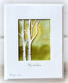 handmade card from Rapport från ett skrivbord: CAS-ual Friday 64 ... challenge to show something in the sky ... awesome card ... another piece of art that should be displayed ... die cut birch trees ... greens and yellows in a impressionistic version of sun and trees in the background ... luv it!!