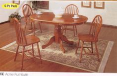 5pcs Oak Finish Wood Oval Dining Table & 4 Windsor Chairs by ACME. $399.00. Some assembly may be required. Please see product details.. 5pcs Oak Finish Wood Oval Dining Table & 4 Windsor Chairs This is a brand new Southwestern Style Oak Finish Wood Oval Dining Table and 4 Windsor Arrowback Chair/Chairs Furniture Set. Item comes complete with dining table with four intricately carved legs and four dining chairs to meet your complete dining needs. With a oak wood finish,...
