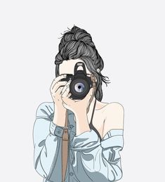 A woman holds a stylish camera and wears a denim jacket Premium Vector Tumblr Girl Drawing, Cute Girl Drawing, Beautiful Girl Drawing, Art And Illustration, Camera Illustration, Illustration Fashion, Girly Drawings, Art Drawings Sketches, Easy Drawings