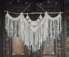Large Macrame Wall Hanging This beautiful and unique wall hanging will add a lovely handmade element to any room in your home.  With a couple hundred meters of cotton rope woven into her bones, it is a statement piece that will flood your space with energy and inspiration and is sure to Large Macrame Wall Hanging, Tapestry Wall Hanging, Strong Scented Candles, Moroccan Leather Pouf, Macrame Design, Macrame Art, Macrame Projects, Macrame Patterns, Creations