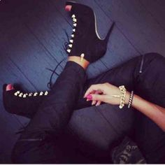 a394ee5b88c0 open toe laceups shoes peep toe high heels ankle booties lace up gold  details fiftyfootfashionista black
