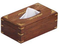 Keep your tissues organized and within reach by selecting this Benzara Rectangular Mango Wood Tissue Box Cover with Brass Inlays. Tissue Paper Holder, Tissue Box Covers, Tissue Boxes, Paper Towel Holder Kitchen, Covered Boxes, Face Cleanser, Brown Wood, Wood Boxes, Baby Clothes Shops