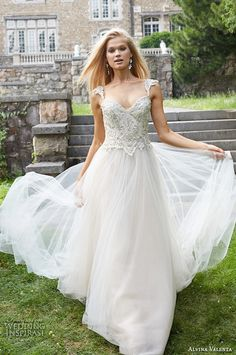 alvina valenta fall 2015 wedding dresses jeweled strap sweetheart neckline jeweled embroidered bodice beautiful tulle wedding ball gown av9561 #weddingdress #ballgown #weddings