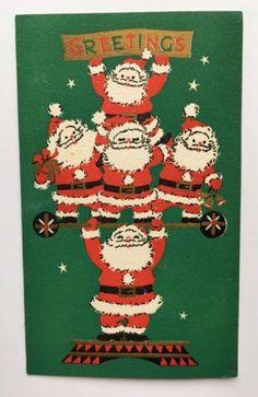 Vintage-Christmas-Card-Santa-Circus-Carnival-Strong-Man-Gold-Star-Cute-Cartoon