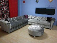 Corner Sofa Living Room, Grey Corner Sofa, Home Living Room, Living Room Designs, Chesterfield Corner Sofa, Grey Velvet Sofa, Wardrobe Design, Bed Plans, Sofa Ideas
