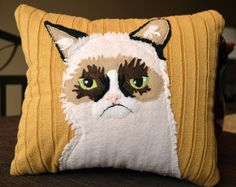 Grumpy Cat Upcycled Sweater Pillow