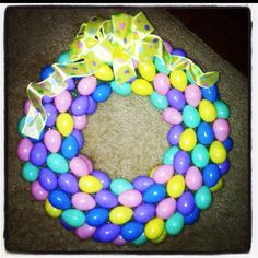 Homemade Easter Egg Wreath :) Made with Styrofoam wreath and plastic eggs!!