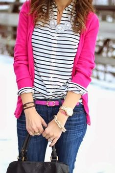 Fall Outfit With Stripes Pink Sweatshirt and Handbag. make this outfit best for you :) click the photo