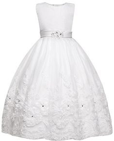 Amberry Little Big Girl's Embroidered Flower Communion Dress C10D (10) -- Read more  at the image link.