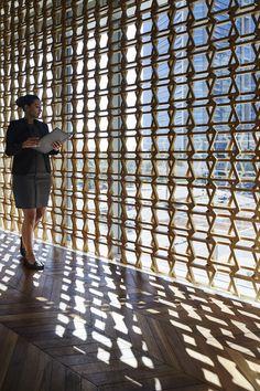 INTERSECT BY LEXUS - Dubai | Wonderwall Partition Design, Facade Design, Timber Architecture, Architecture Details, Screen Design, Wall Design, Interior Design Dubai, Space Dividers, Unique Buildings