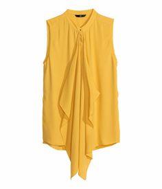 {chiffon blouse in mustard yellow - under $25 - h&m}