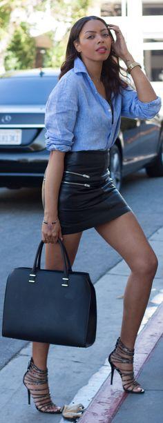 H&m Blue Chambray Linen Shirt  / fashion / street / style / black / models / ✔BWC