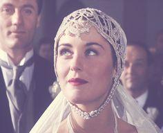 Evie's wedding headress, made from a 1920's beaded belt.
