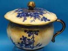 "ANTIQUE ROYAL DOULTON BURSLEM BLUE & WHITE ""IVORY"" CHAMBER POT WITH LID c.1886 #RoyalDoulton"