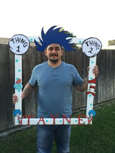 Thing 1 and Thing 2 selfie frame- dr Seuss- and thing 2 party decorations. Thing 1 and Thing 2 selfie frame- dr S. Dr Seuss Birthday Party, Twin Birthday Parties, Gold Birthday Party, 1st Boy Birthday, Birthday Ideas, Happy Birthday, Dr Seuss Baby Shower, Baby Shower Fun, Cat In The Hat Party