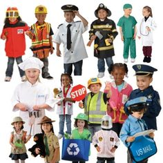 This set of 18 Community Helper Outfits provide any classroom with an abundant range of workers in the community. Great for small classrooms. Boy Dress Up Clothes, Dress Up Outfits, Dresses, Dress Up Corner, Career Exploration, Community Helpers, Dramatic Play, Early Learning, Playing Dress Up