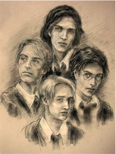 """Messrs. Moony, Wormtail, Padfoot, and Prongs"" by Ivanneth< Very well done. Is it me, or does Moony look a bit like Luke Skywalker?"