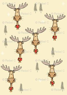 Cute Christmas moose gift wrap (other colors also) - Spoonflower