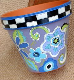 Painted Pot- Whimsical Blues