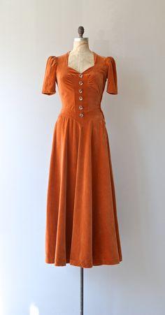 Velvet day dress, 1930's.