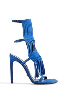 Hot! Bright blue fringed sandal by Gucci.