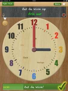 Handige app voor kinderen om te oefenen met klokkijken. Apple & Android.