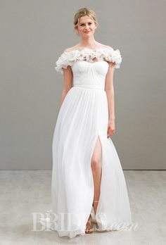 A totally whimsical off-the-shoulder @jimhjelm wedding dress | Brides.com