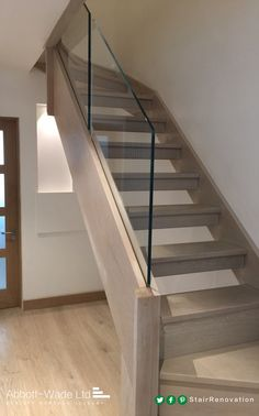 Abbott-Wade open tread, stained oak staircase with frameless glass balustrade. Carpet Staircase, Staircase Remodel, Modern Staircase, Staircase Design, Open Stairs, Glass Stairs, Stair Banister, Banisters, Stair Treads