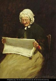 Old Woman Reading a Newspaper, by Paul Knight