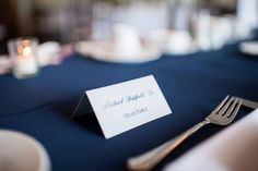 Navy and Silver Escort Cards.