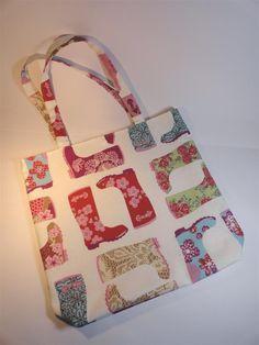 tote bag en toile écrue imprimé bottes de pluie multicolores : Sacs à main par mademoiselle-rose