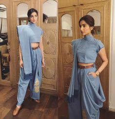 Masaba has sorted us out with this amazing sari hack and Sonam has been her gorgeous self in showing us how to work the hell out of this denim sari pant. | Sonam Kapoor's Sari-Jeans Are Game-Changing If You Want To Wear Saris But Don't Know How