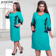 """HOT PRICES FROM ALI - Buy """"plus size women clothing winter autumn dress 2017 large size Big size Tunic dress vintage female clothes blue black robe"""" for only USD. Plus Size Womens Clothing, Size Clothing, Plus Size Fashion, Clothes For Women, Curvy Fashion, Elegant Dresses, Vintage Dresses, Elegant Clothing, Straight Dress"""