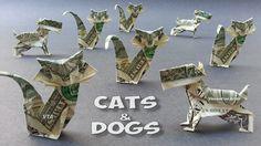 CATS & DOGS ORIGAMI - Money Dollar Bill Origami