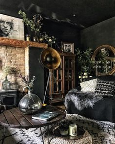 Dark and Moody Living room You are in the right place about home design art Here we offer you the mo Home Design Decor, Interior Design Living Room, Living Room Designs, Black Interior Design, Interior Photo, Design Ideas, Dark Living Rooms, Living Room Modern, Black Sofa Living Room