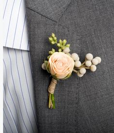 Boutonnieres:  Christian: pale pink rose, brunia berries, and seeded eucalyptus.  Groomsmen (8), Mr. Mikesell and Mr. Swatski & Grandfathers (2), same or any variation of this that you think would compliment