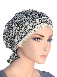 d860c998027 chemo beanie abbey cap in ruffle b w animal print 559 Chemo Hair Loss
