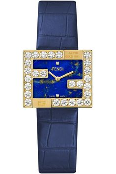 Brand New and Authentic Fendi Fendimania Diamond FF Logo Bezel Yellow Gold Case Lapis Lazuli Dial Women's Watch - Reference Code - Limited Edition of 50 Pieces Brand Name Watches, Top Luxury Brands, Lapis Lazuli, Brand Names, Fendi, Logo, Yellow, Diamond, Clocks