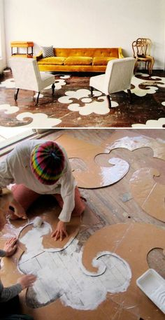 Inspiration!! Possibly paint a large stencil in the middle of the bathroom floor that is only one shade darker than whole painted floor